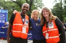 President and CEO of NYRR Mary Wittenberg with volunteers